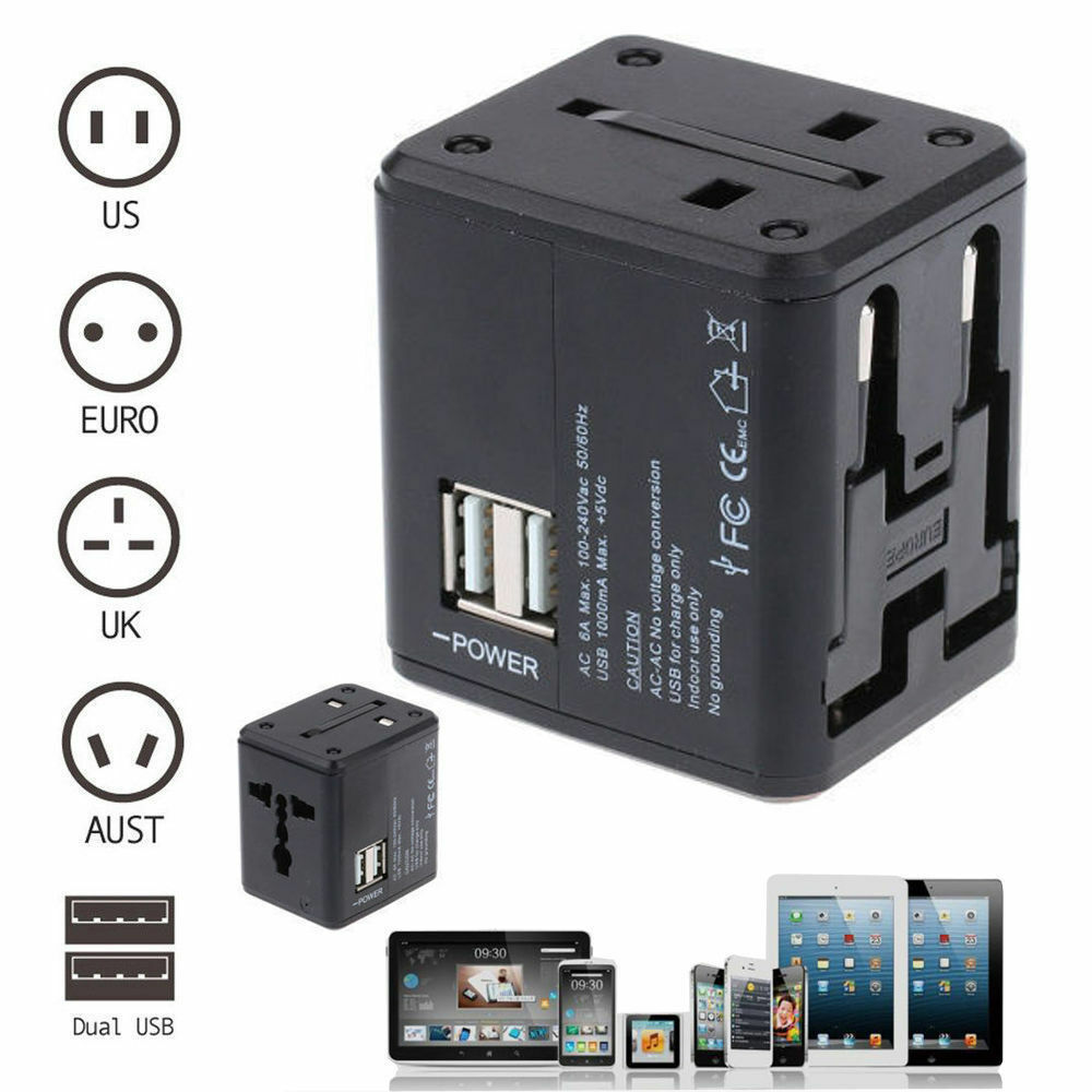 Universal 2 Usb Ac Wall Power Outlet Converter Travel
