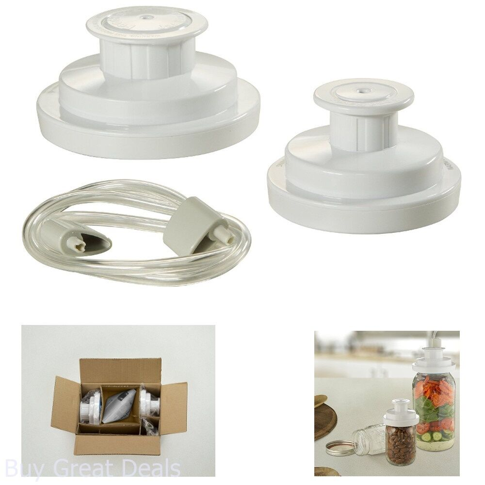 Foodsaver Kit Wide Mouth Jar Sealer W Regular And Accessory Hose White