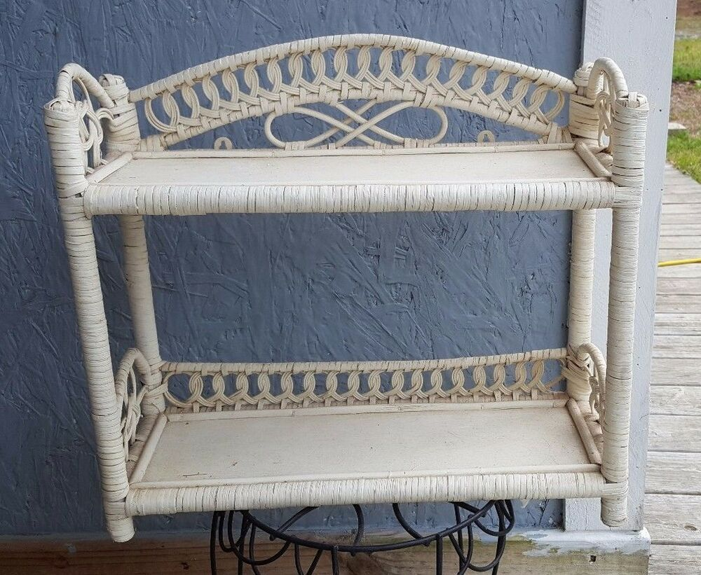 Vintage wicker shelf white wall or stand alone bathroom for Wicker stands bathrooms