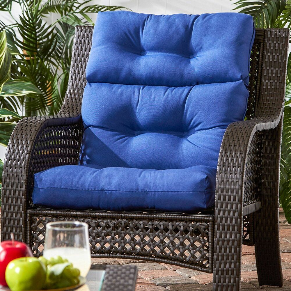 Details About Patio Chair Cushion Set Of 2 Wicker Furniture High Back Deep Seat 44 X 22 S