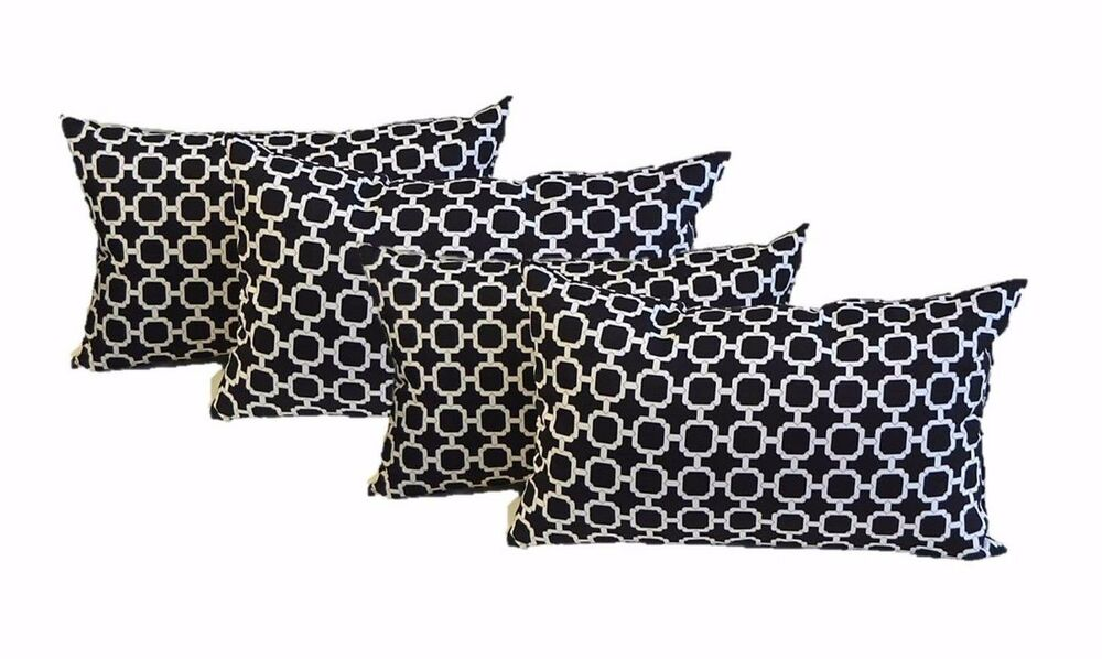 set of 4 black white hockely in outdoor lumbar rectangle throw pillows ebay. Black Bedroom Furniture Sets. Home Design Ideas