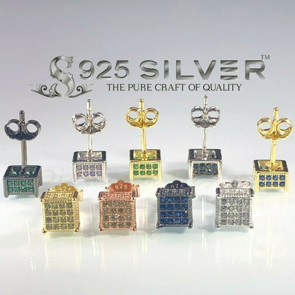 icedout earrings real silver 925 sterling iced out 6mm cz square earrings 4936