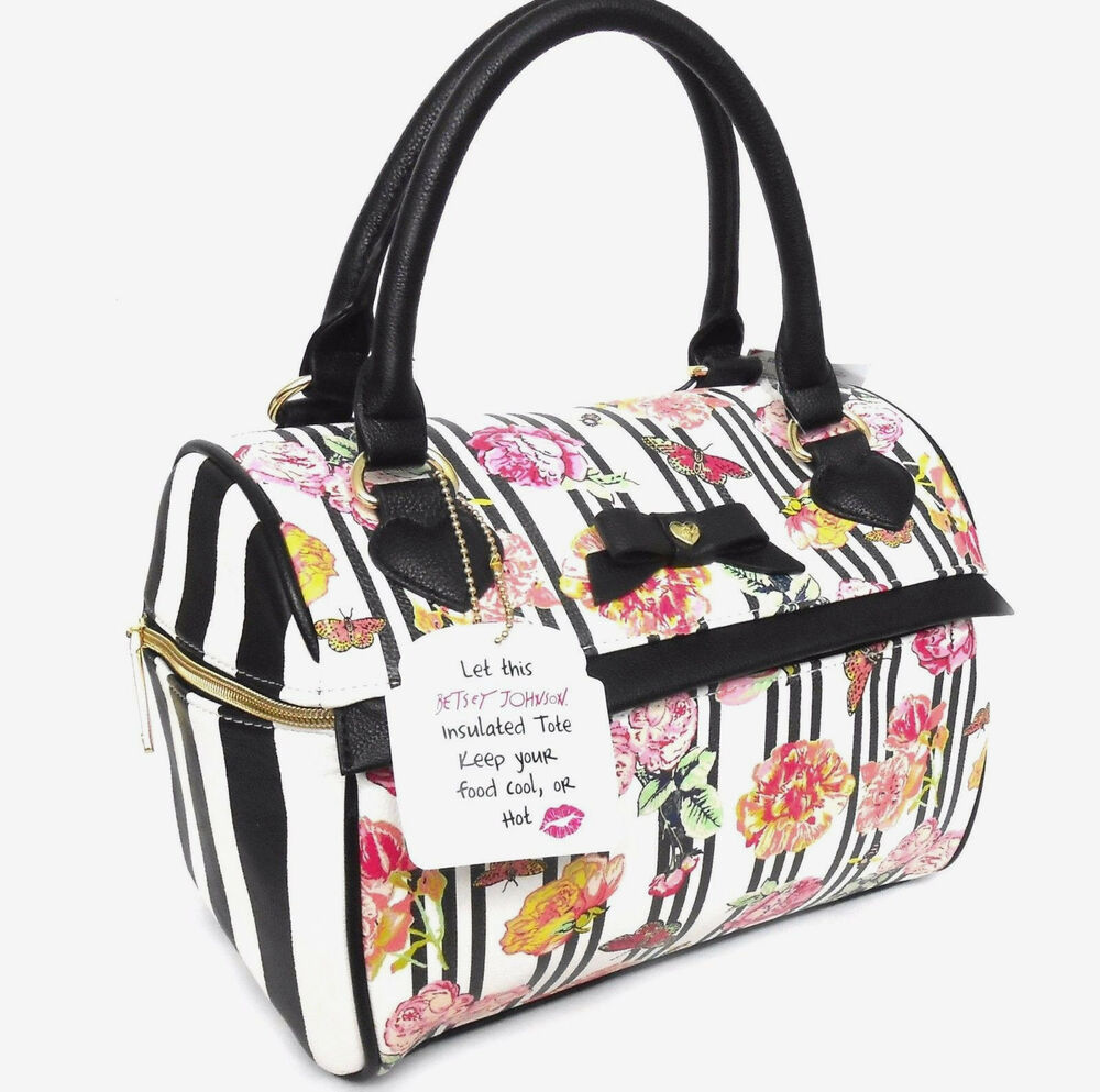Nwt Betsey Johnson Insulated Lunch Tote Bag Bow Black