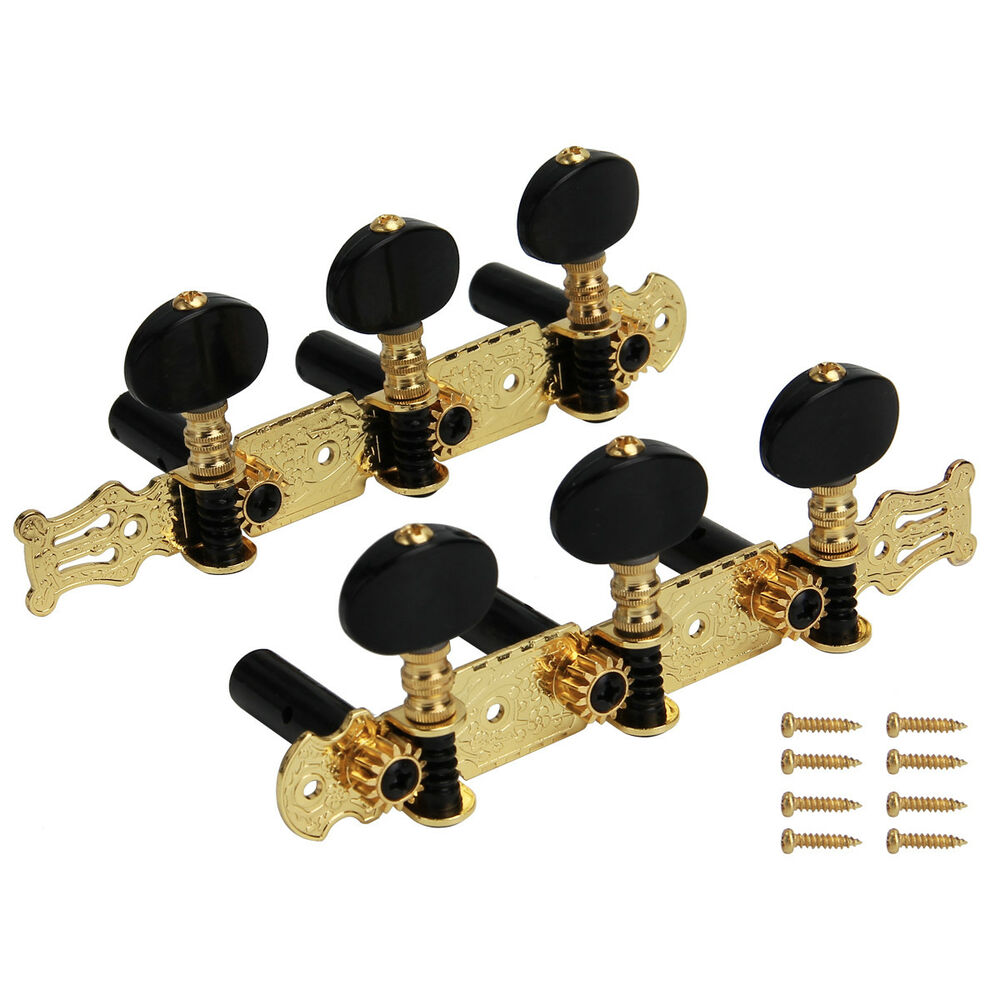 set 3x3 gold plated classical guitar tuning pegs machine heads tuner button keys 634458659901 ebay. Black Bedroom Furniture Sets. Home Design Ideas