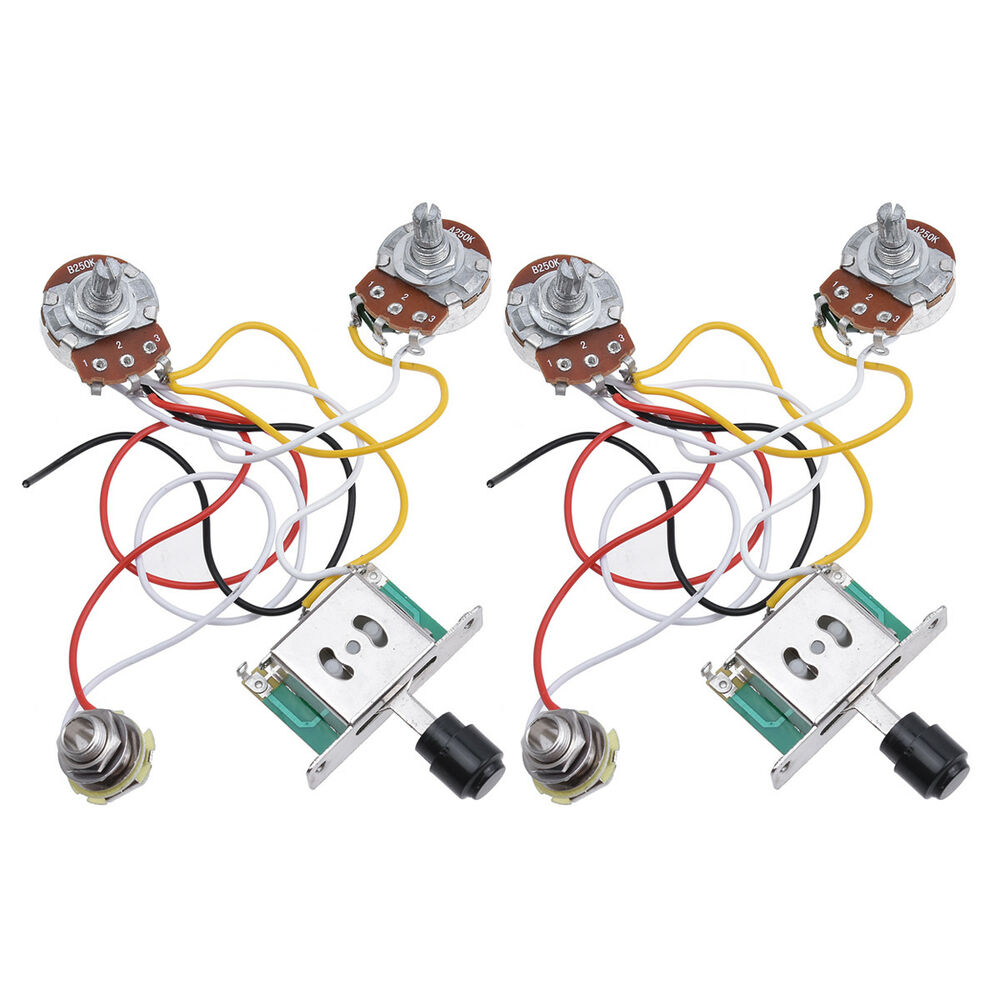 Guitar Prewired Wiring Harness For Fender Tele Parts 3 Way 250k Set Of 2 634458688437