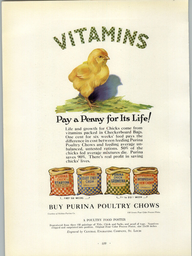 1927 Paper Ad Purina Chicken Feed Bags Poultry Commercial Printing