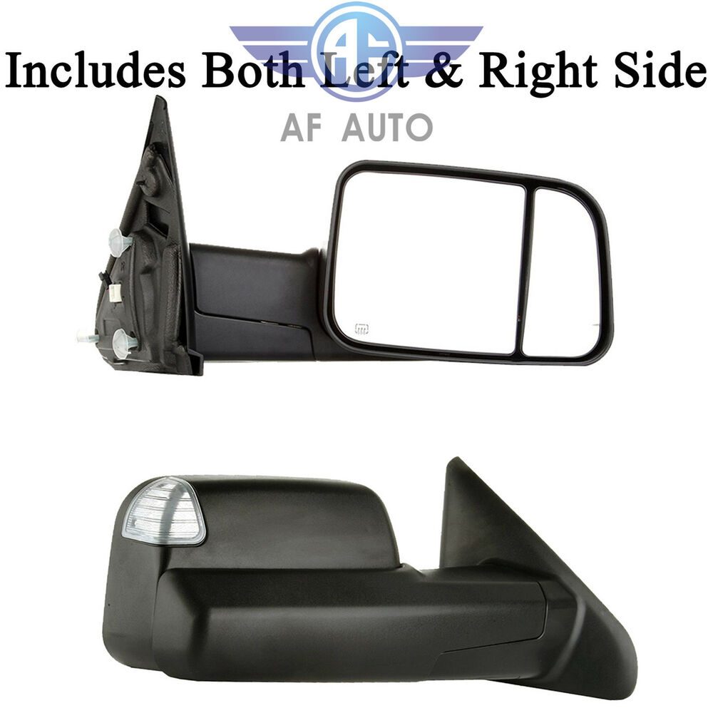 Black Power Heated Towing Mirrors For 2009 2015 Dodge Ram