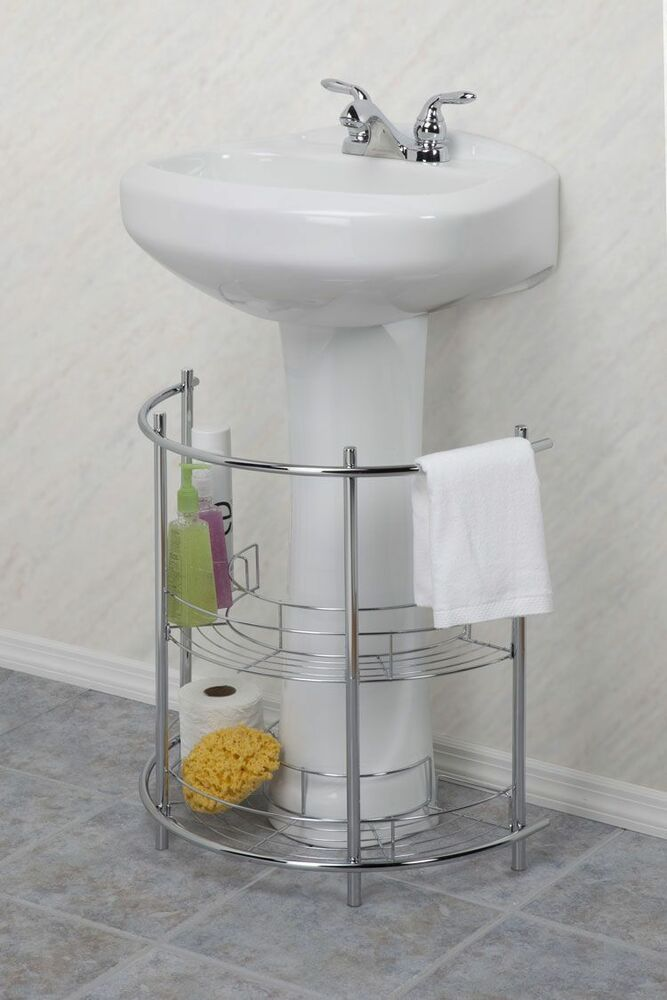 Under Pedestal Sink Storage Organizer Shelf 2 Tier Bath