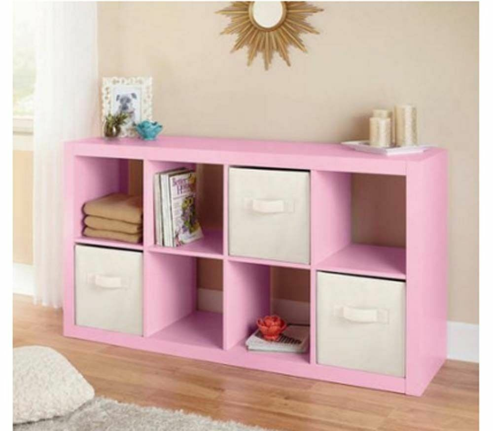 Pink Storage Organizer For Girls Bedroom Wood Cubby Shelf ...