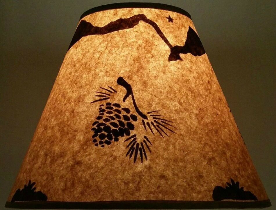 Pinecone Lamp Shade Rustic Parchment Paper 12 Quot Clip On