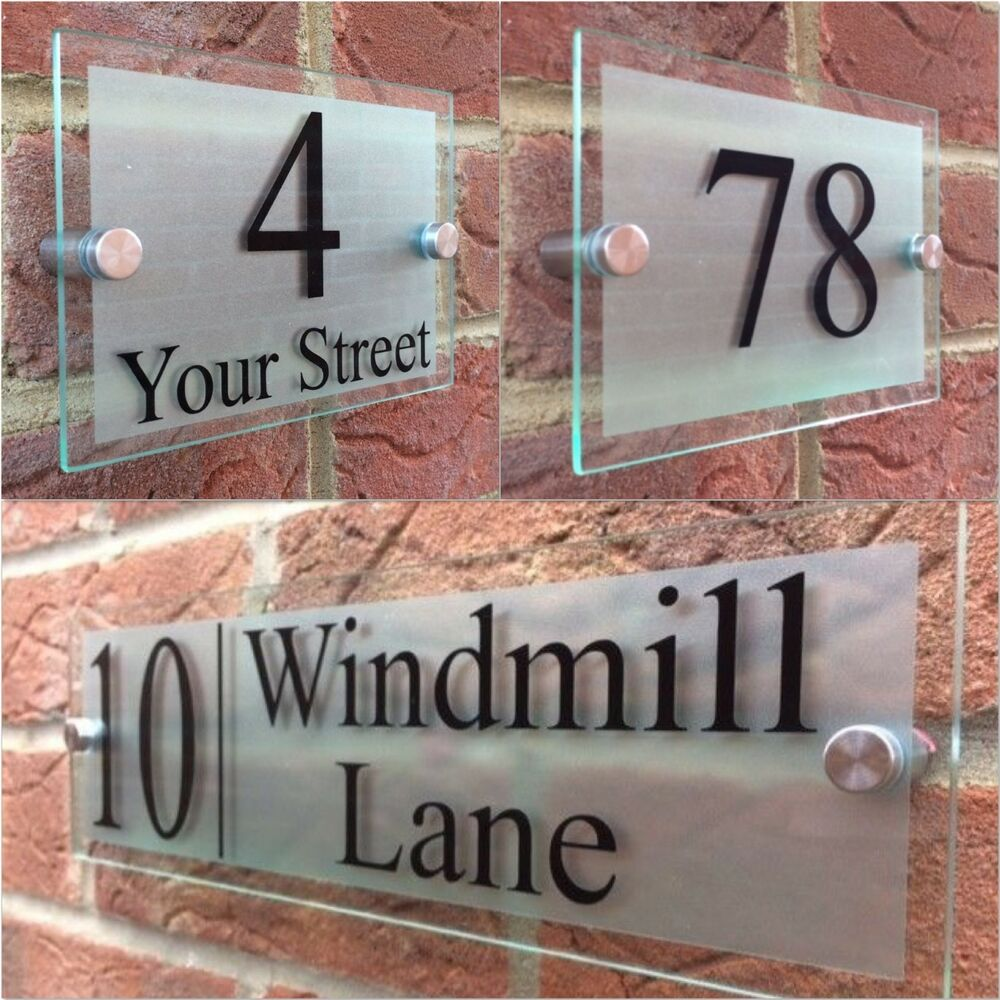 Details about modern house sign plaque door number street glass effect acrylic house name