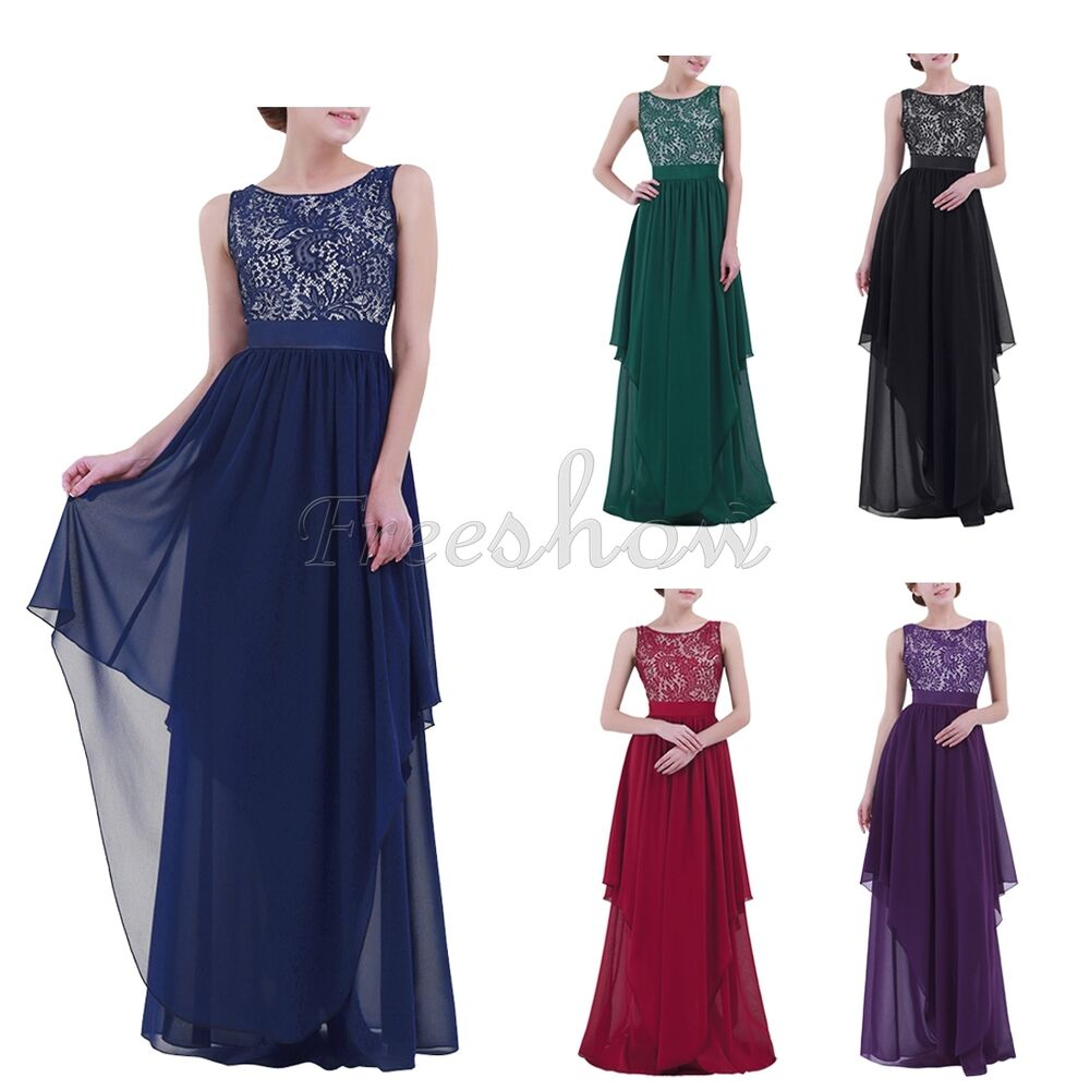 Women formal lace long dress wedding prom evening party for Formal long dresses for weddings