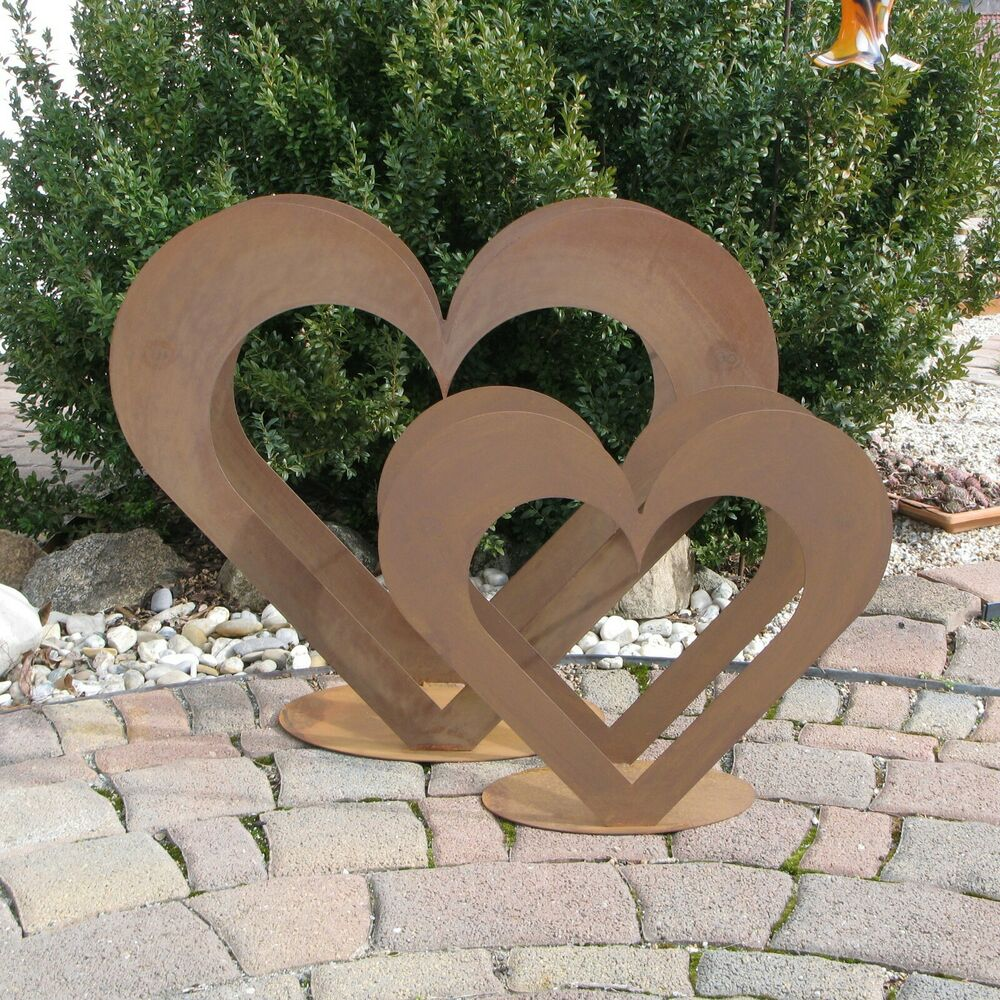 2 x herz aus metall set holz regal edel rost for Dekoration im garten