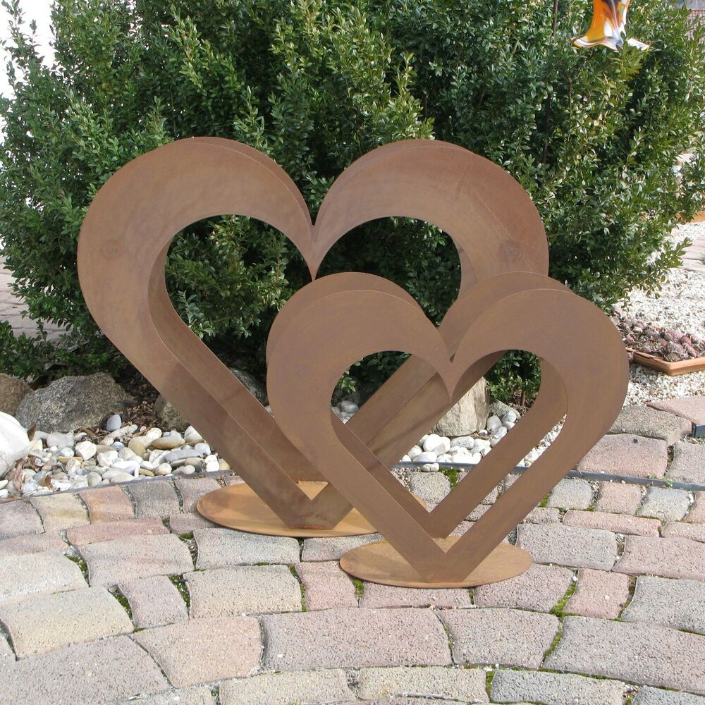 2 x herz aus metall set holz regal edel rost for Garten winterdeko