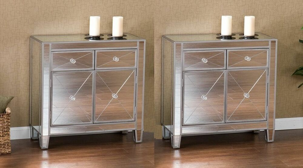 Mirrored storage cabinet drawers dresser chest table bedroom nightstand set of 2 ebay