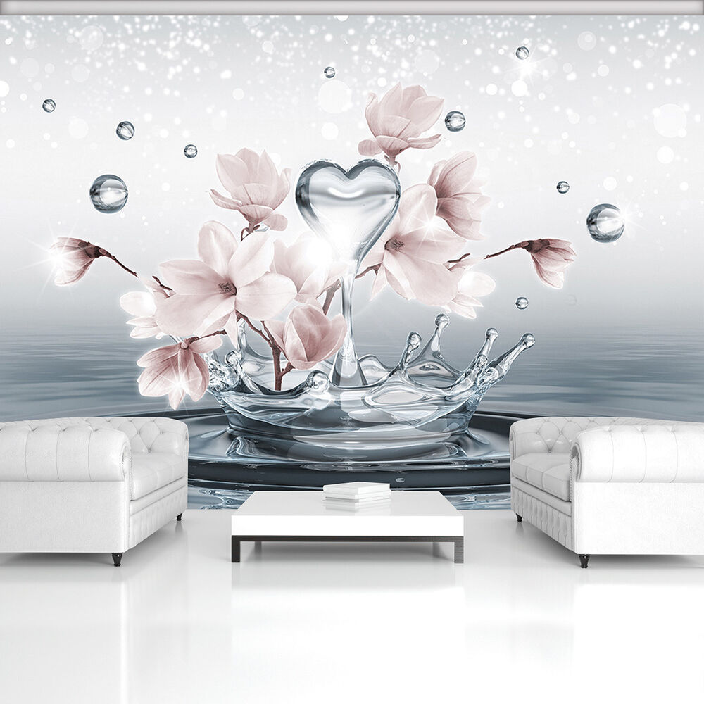 papier tapete fototapete tapeten modern wasser blumen herz kunst magie 13n3491p4 ebay. Black Bedroom Furniture Sets. Home Design Ideas