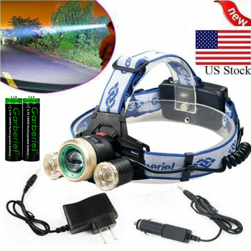 30000LM Tactical T6 LED Headlamp Zoomable HeadLight Lamp ...