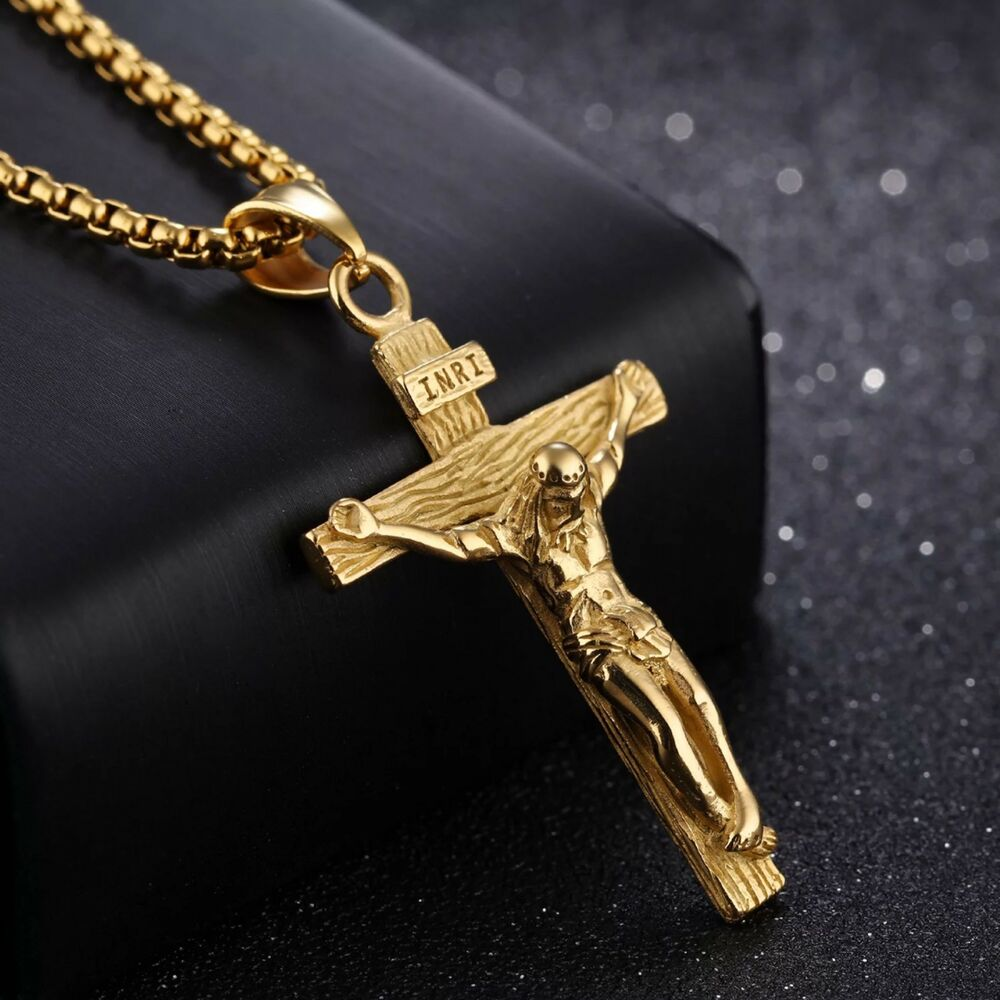 Jesus Stainless Steel Gold 3mm Wheat Braided Chain Cross Pendant 24