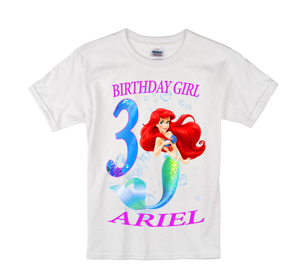 Details About The Little Mermaid Birthday Shirt Personalized Custom Name Age Kids T L2