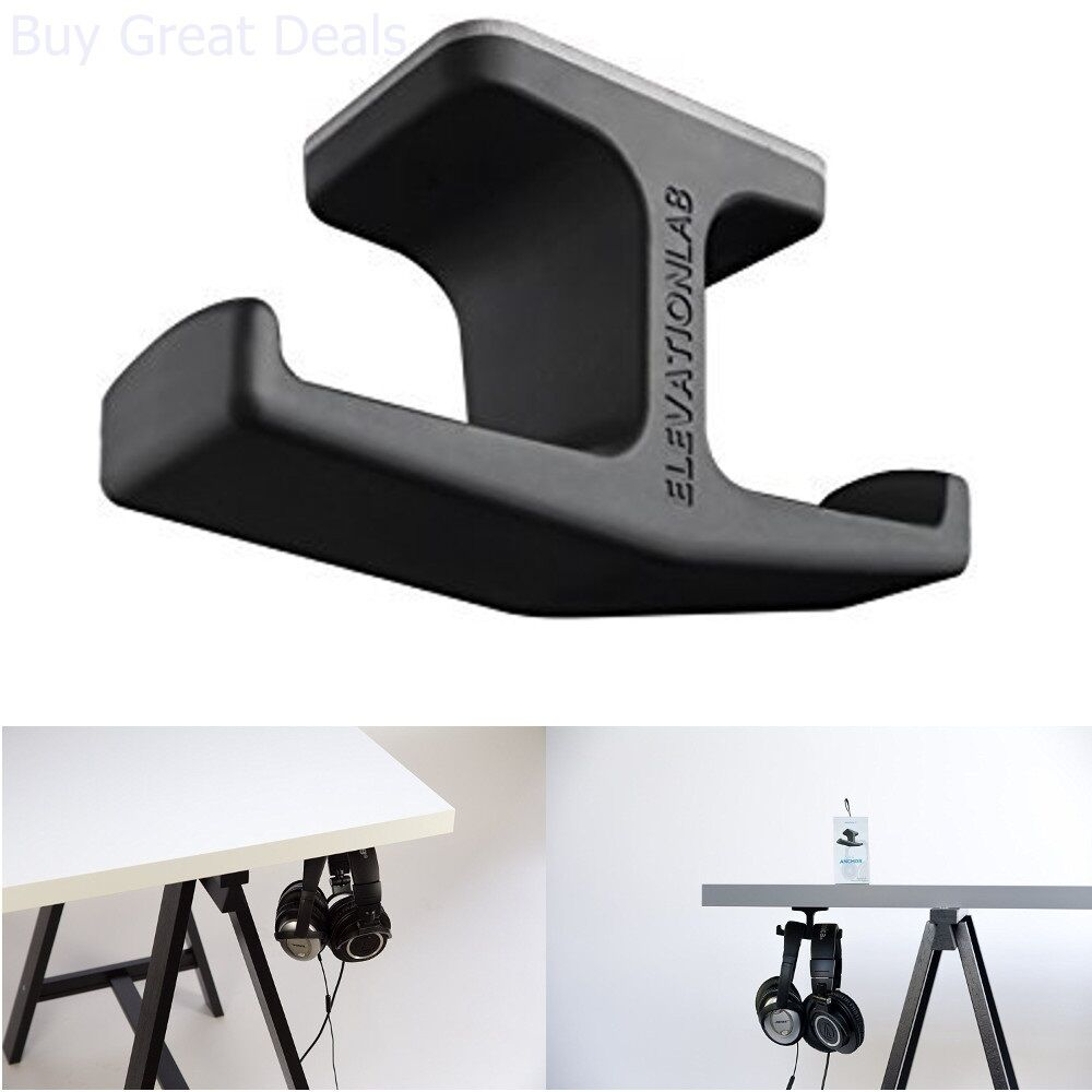 Under Desk Headphone Holder Table Mount Headset Hanger Organizer Holds Piece