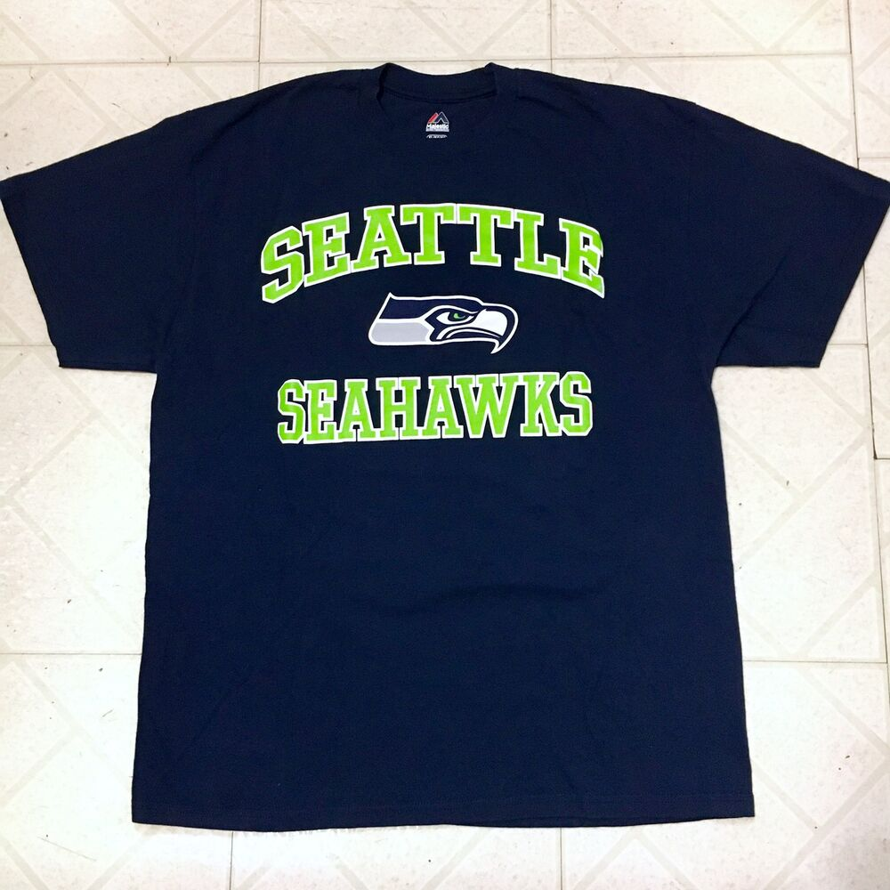 Details about NFL MAJESTIC SEATLE SEAHAWKS TEE SHIRT FOOTBALL NAVY BLUE  GREEN RUSSELL WILSON 44ef7f162