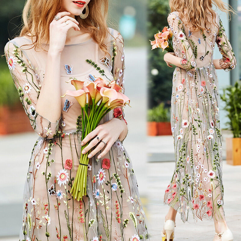 New Fashion Women Embroidered Lace Floral Long Sheer Tunic