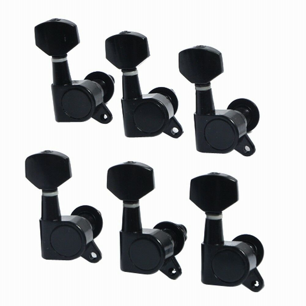 electric guitar string tuning pegs tuners machine heads buttons key black 6r ebay. Black Bedroom Furniture Sets. Home Design Ideas
