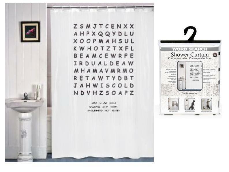 Shower curtain word search puzzle bathroom decor home - Funky bathroom accessories uk ...