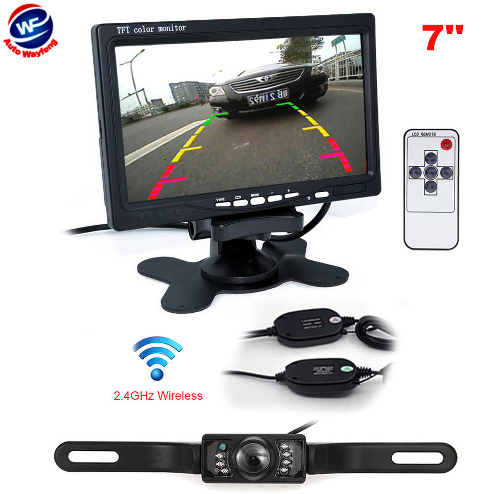 7 tft lcd car rear view backup monitor wireless parking night vision camera kit ebay. Black Bedroom Furniture Sets. Home Design Ideas