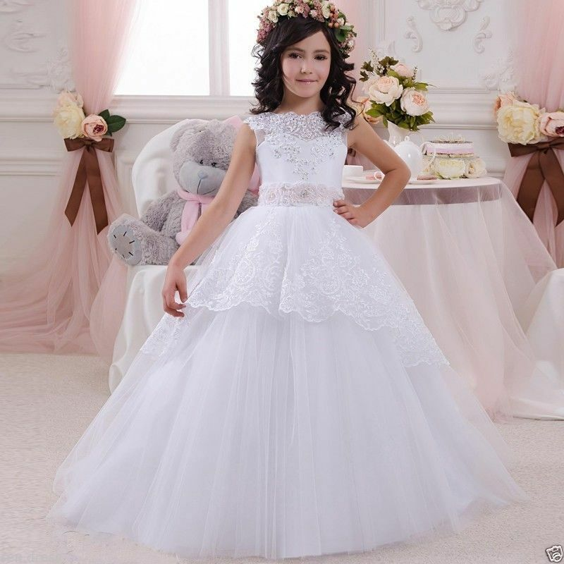 a0183c7028 Details about 2019 White Ball Gown Flower Girl Dresses Kids First Communion  Dress for Girls
