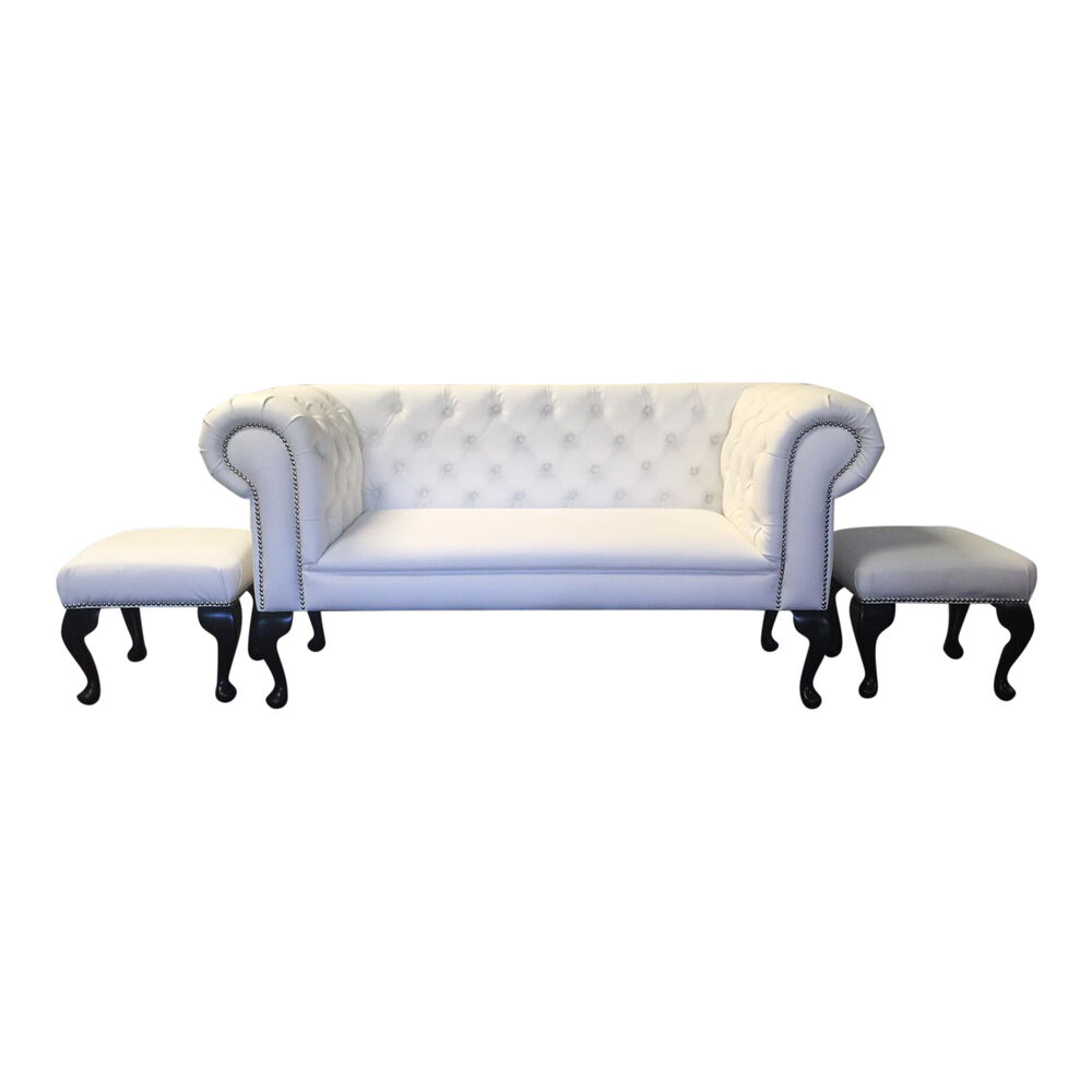 Anastasia white faux leather double ended chaise longue for Chaise longue double sofa bed