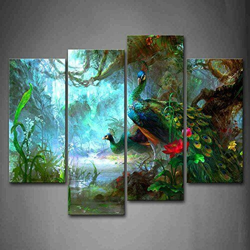 Peacock Wall Art Painting Picture Print Canvas Bird Animal Photo Home Decor Gift Ebay