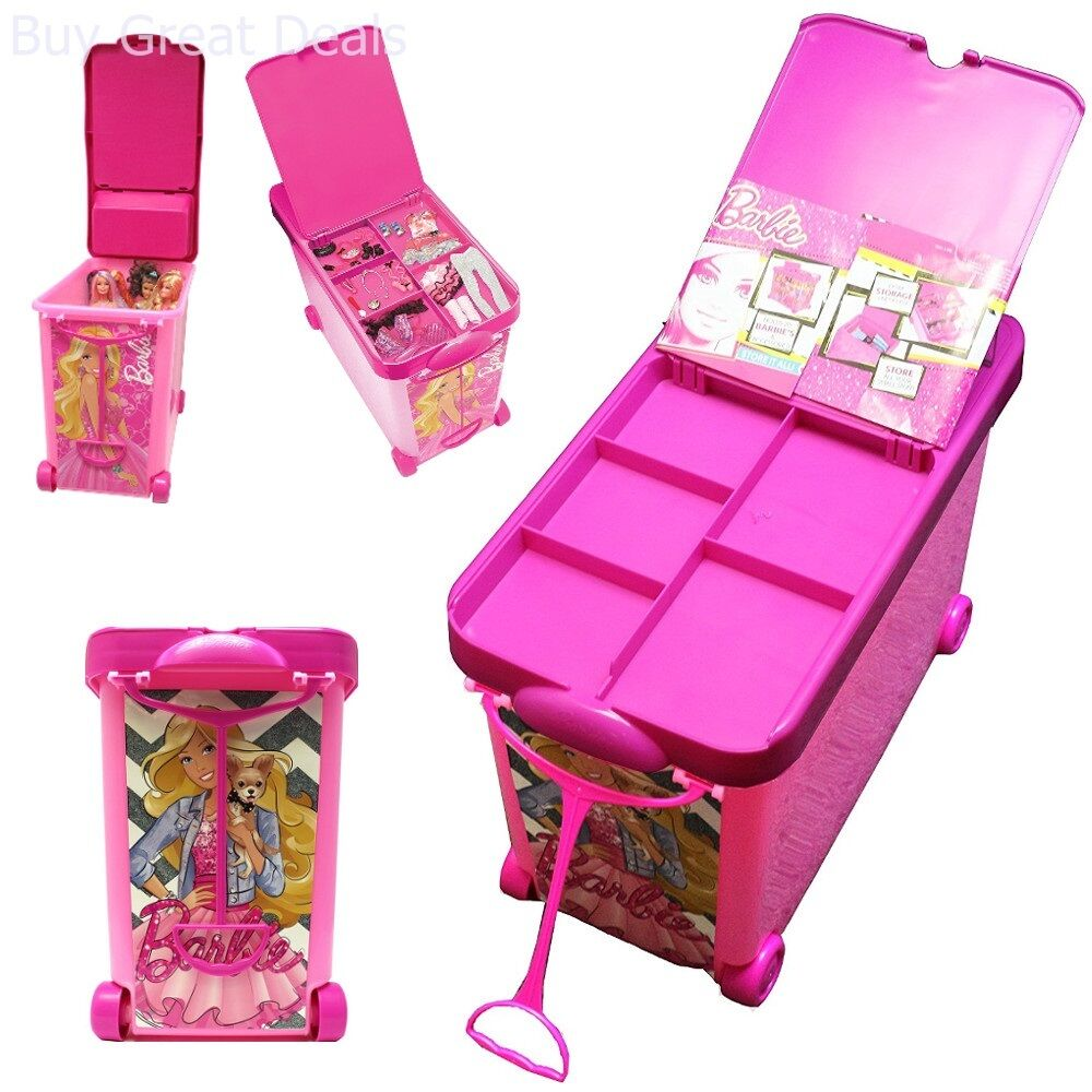 Rolling Bin Storage Case Carry Box Playset Store For