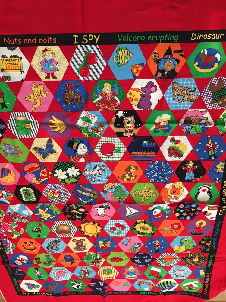 Cheater fabric panel 45 l x 35 5 w i spy children quilting for Children s fabric panels