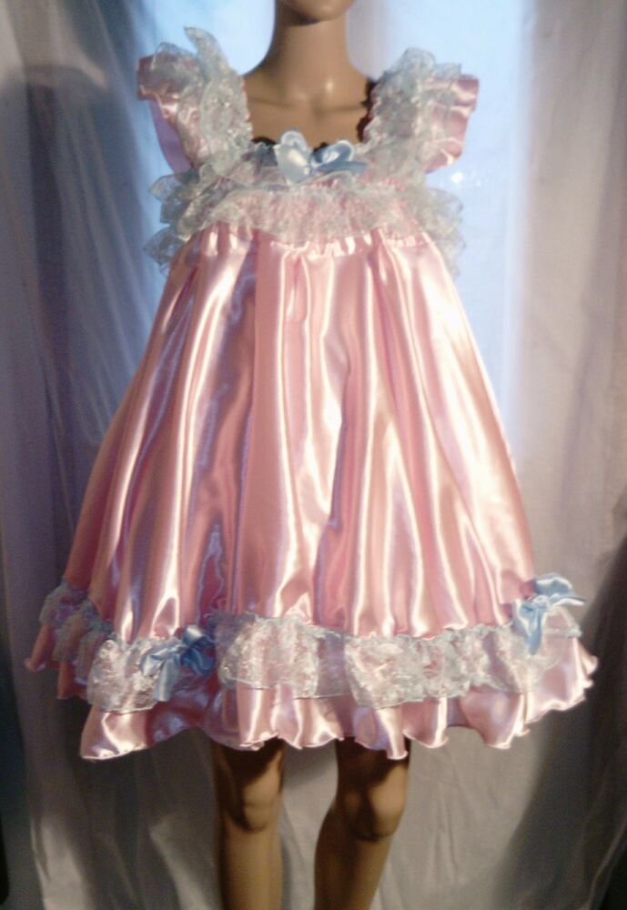 All Sizes 163 55 Adult Baby Sissy Satin Frilly Short Dress