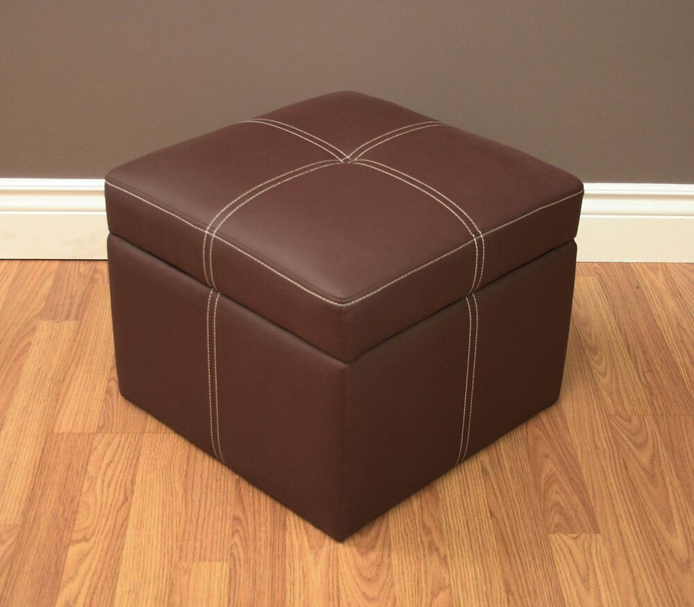 footstool ottoman small hassock brown storage flip top