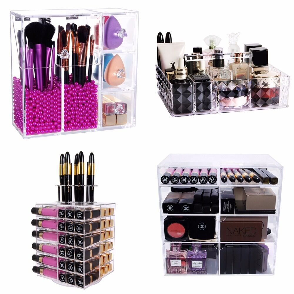 lifewit clear acrylic makeup organizer case large capacity. Black Bedroom Furniture Sets. Home Design Ideas