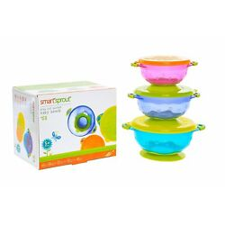 Kyпить Baby Bowls - Set of 3 Stay Put Suction Bowls with Lids - Feeding Bowl Snack Time на еВаy.соm