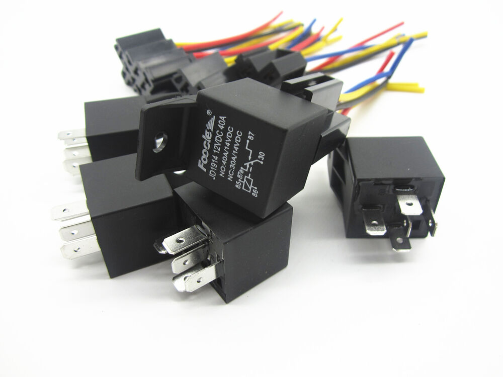 Car Spdt Automotive Relay 5pcs 5 Pin 5 Wires W  Harness