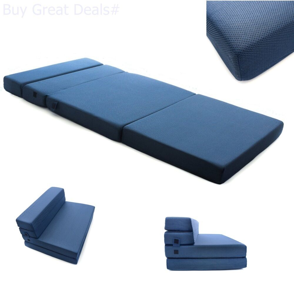 milliard foam tri fold folding mattress and bed sofa for guests or mat floor twi 804879485292 ebay. Black Bedroom Furniture Sets. Home Design Ideas