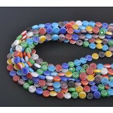 Mixed Flat Round MILLEFIORI Glass Loose Spacer BEADS - Choose 4MM 6MM 8MM 10MM