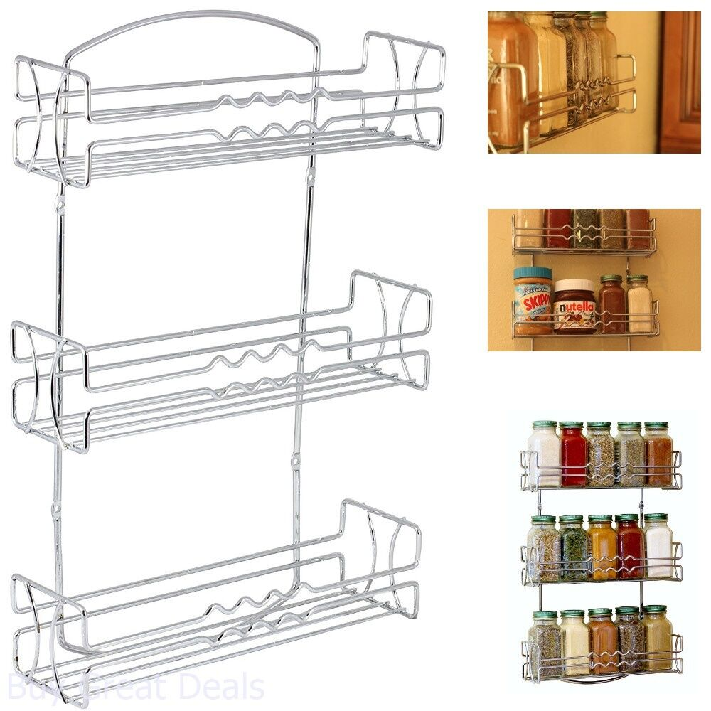 Kitchen Rv 3 Tier Shelf Wall Mounted Spice Jar Rack