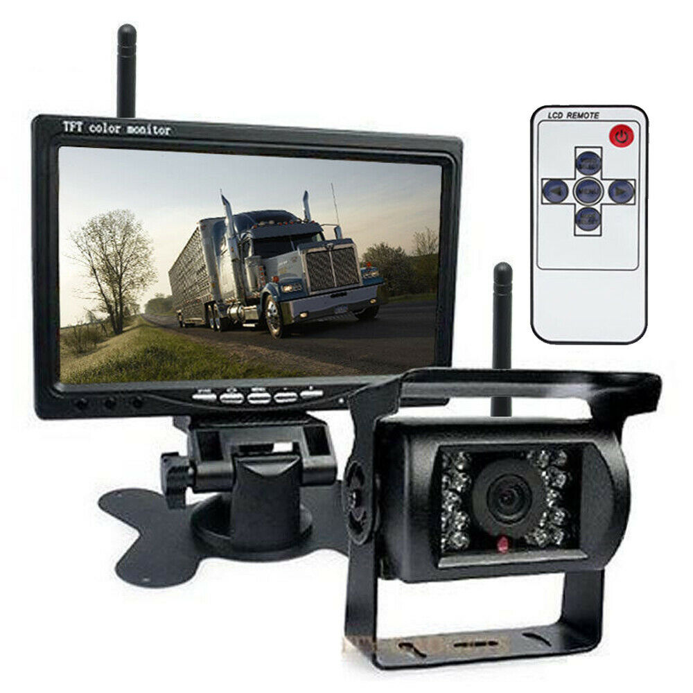 "Wireless 7"" Waterproof Backup Camera Monitor Kits For Semi"