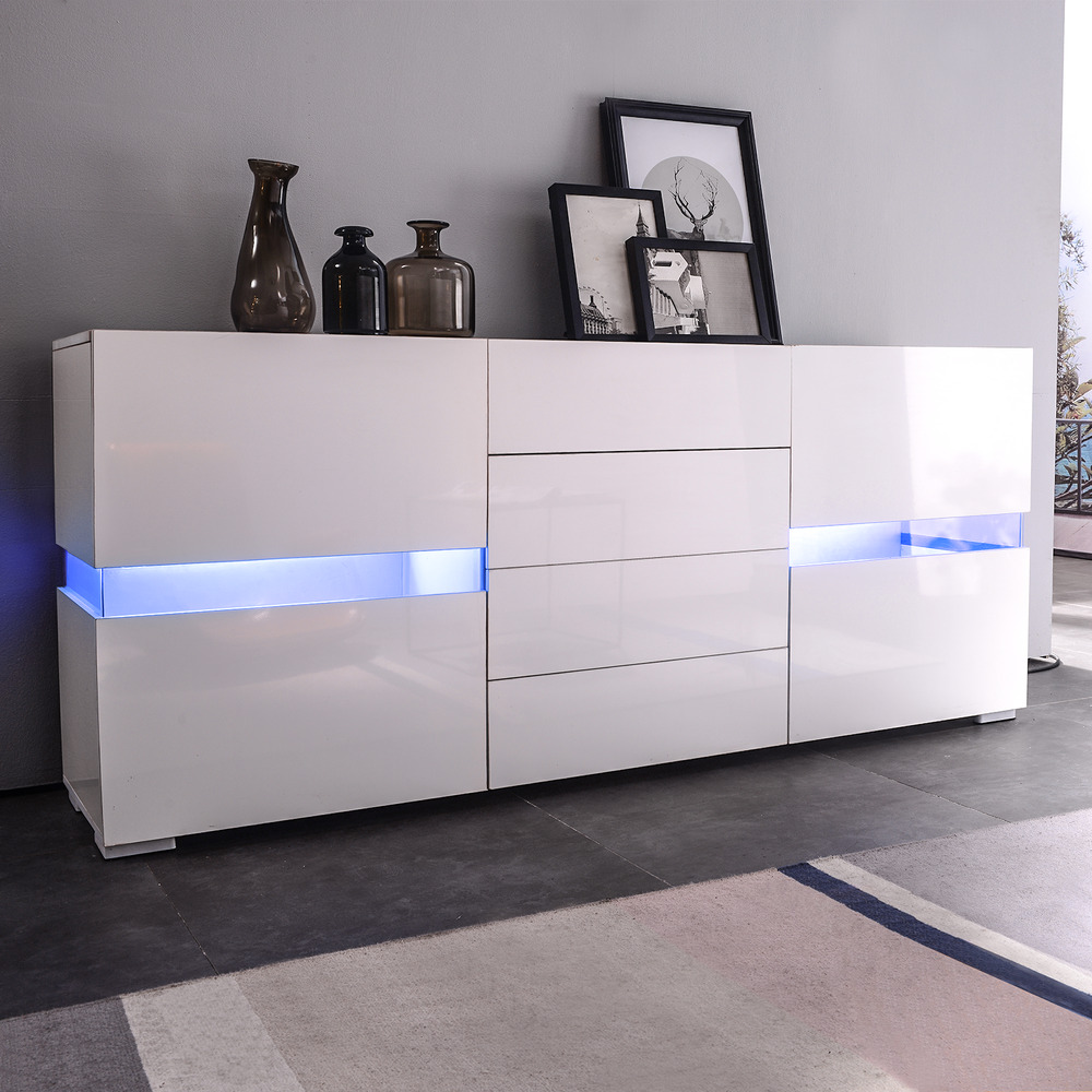 LED Sideboard Buffet Cabinet Chest of Drawers Storage Cupboard High Gloss White eBay