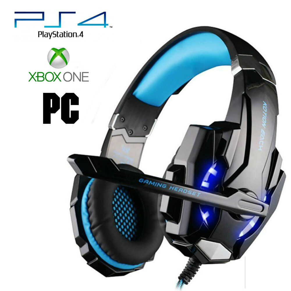 Pro Gamer PS4 Headset for PlayStation 4 Xbox One & PC Computer Blue Headphones   eBay