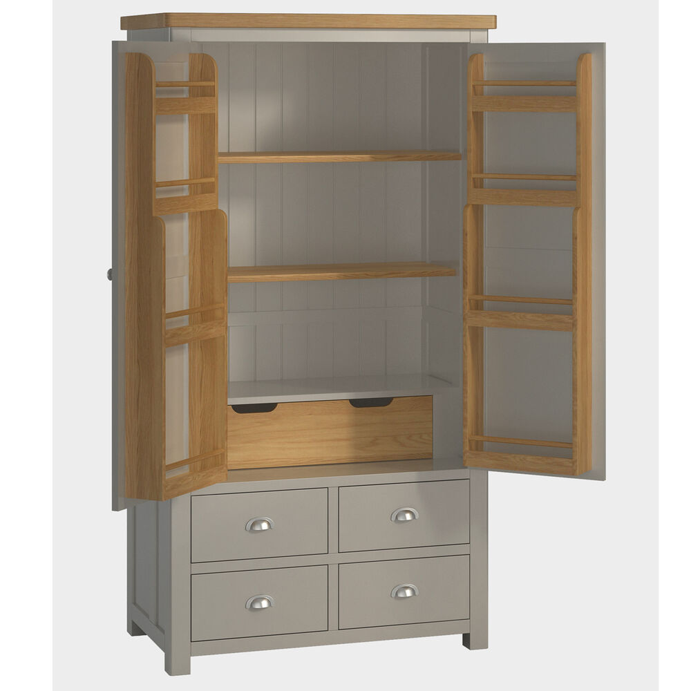 Padstow Grey Large Larder Unit Solid Wood Painted