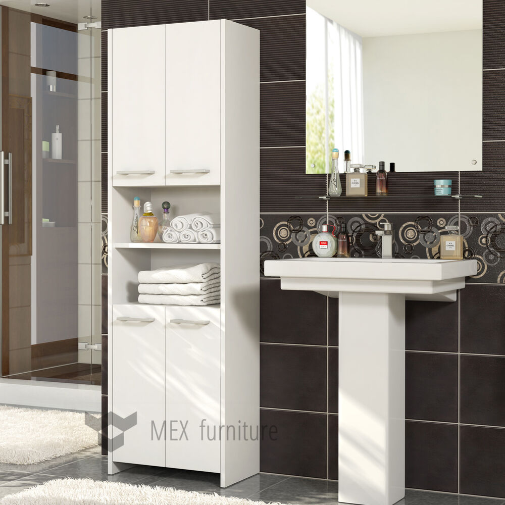 White Bathroom Furniture Storage Cupboard Cabinet Shelves: Modern White Tall Bathroom Storage 4 Doors Cabinet