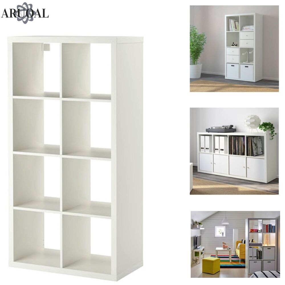 ikea kallax white 8 shelving unit display storage. Black Bedroom Furniture Sets. Home Design Ideas