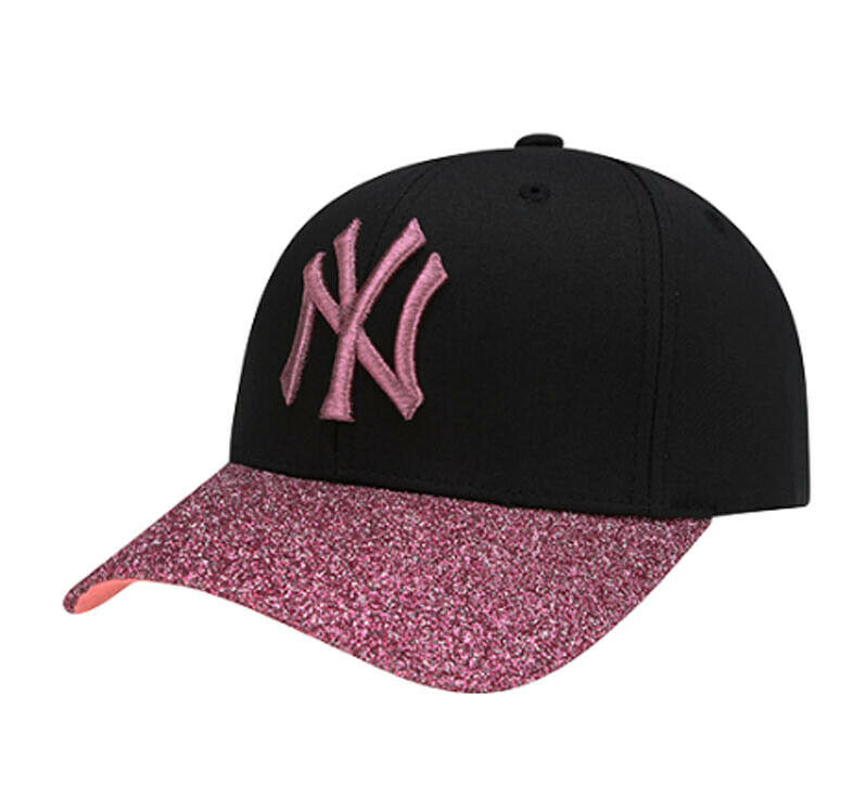 Details about New NY Yankees Adjustable Cap MLB Korea Pink Raised  Embroidery Glitter BlackHat 0ba3beccd74