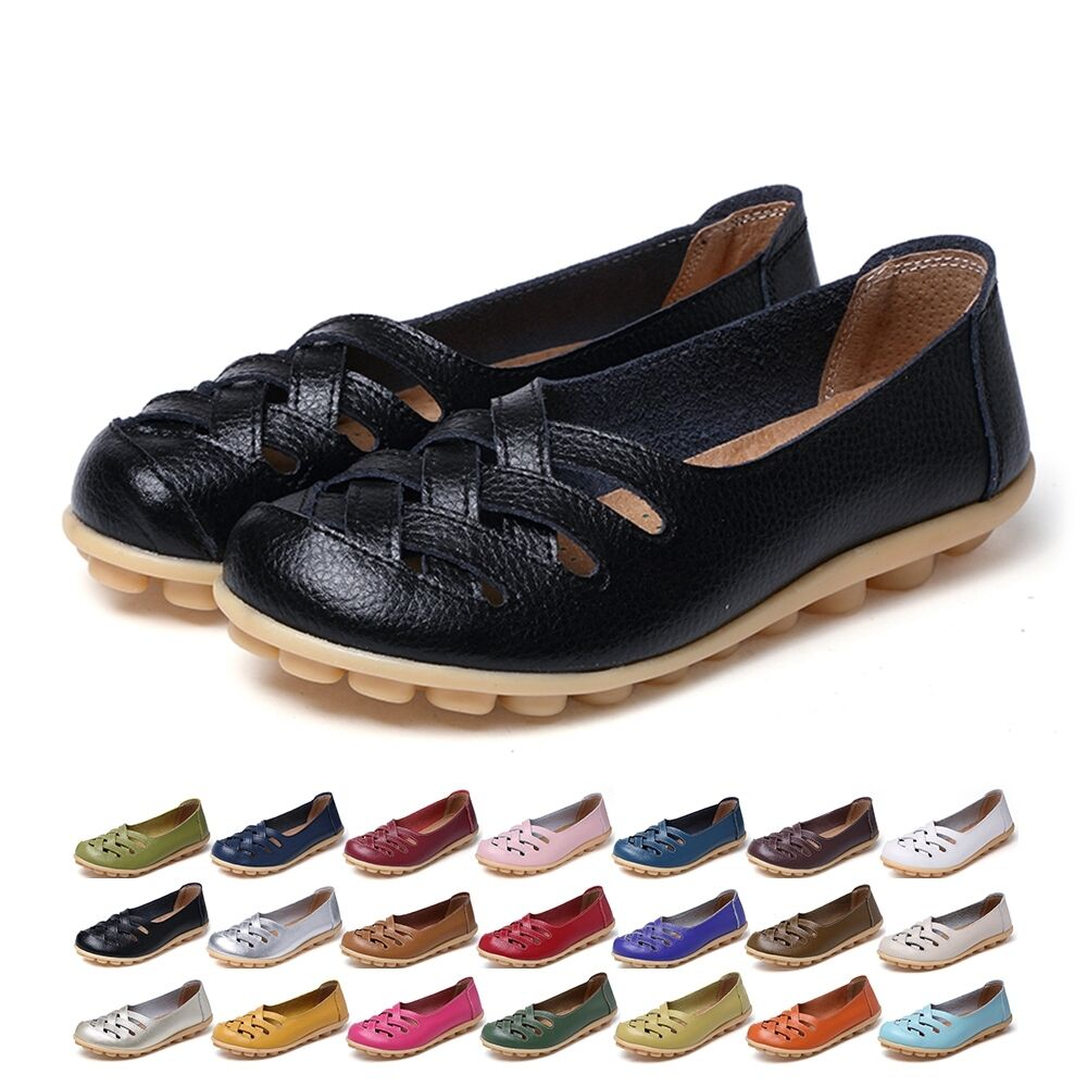 10fd0b43b67 Details about Women Casual Genuine Leather Slip on Loafers Moccasin Flats  Boat Oxfords Shoes